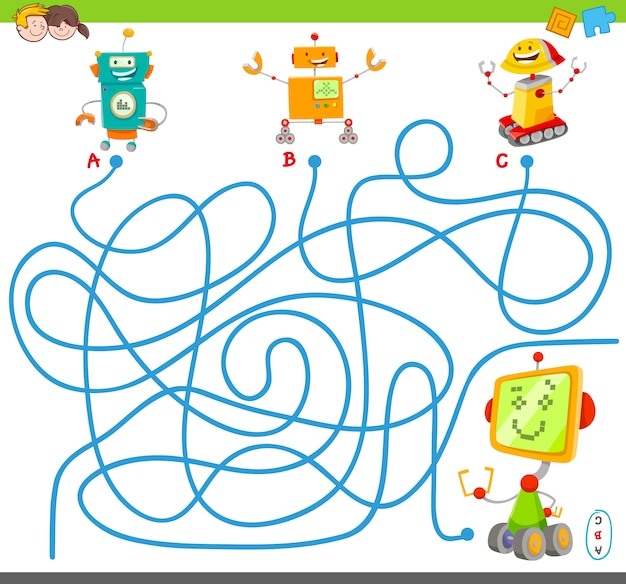 Lines maze puzzle game with robots