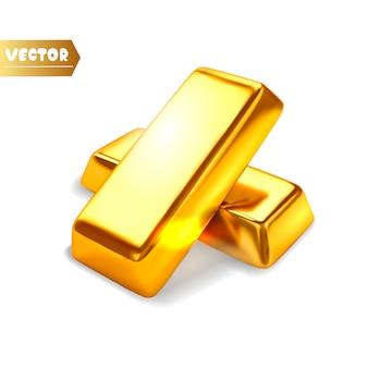 Lingotti d'oro isolati