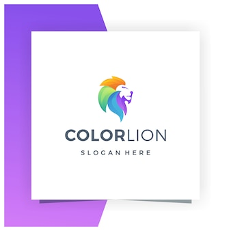 Lion colorful logo design premium