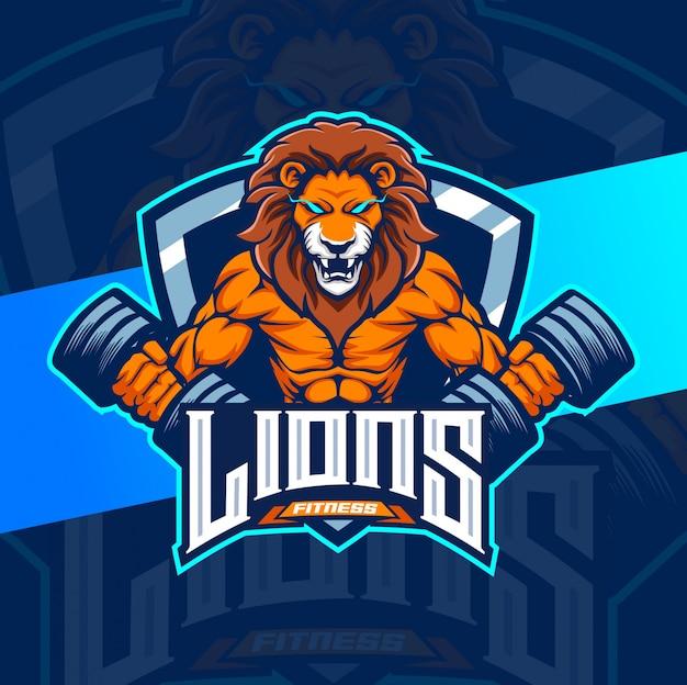 Lion fitness bodybuilder mascotte logo design