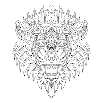 Lion illustration, mandala zentangle in libro da colorare in stile lineare