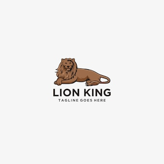 Lion king sitting logo illustration.