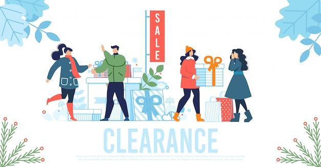 Liquidazione delle vendite lettering poster pubblicitario piatto