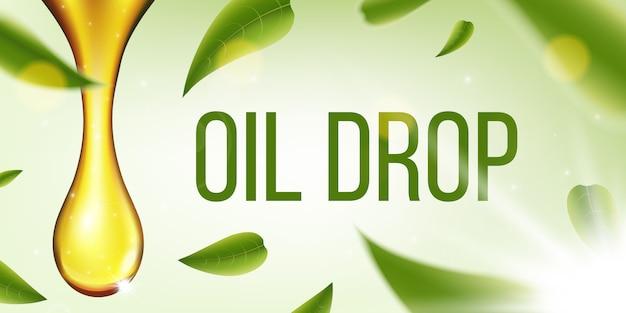 Liquido verde oliva, goccia d'olio, collagene frizzante.