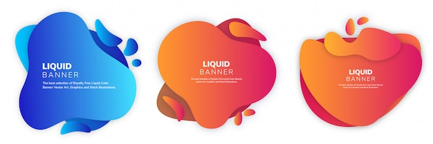Liquify set di banner a colori fluidi