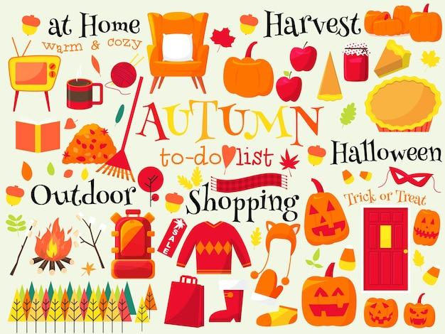 Lista delle cose da fare autunno, illustrazione di autunno