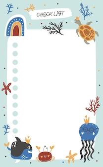 Lista di controllo con pesci oceanici.
