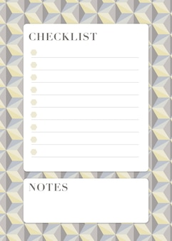 Lista di controllo geometrica in stile scandinavo con spazio per prendere appunti
