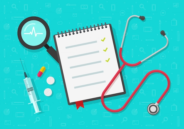Lista di controllo o blocco note di salute medica sulla vista da scrivania con segni di spunta