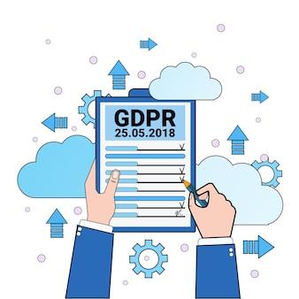 Lista di controllo tenuta mani scudo nuvola di sicurezza dei dati