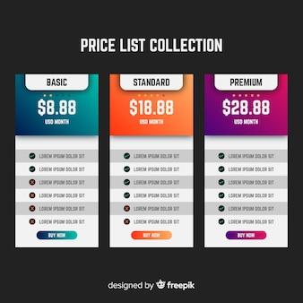 Listino prezzi collectio