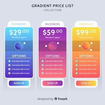Listino prezzi piatto