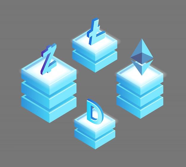 Litecoin, ethereum ripple e dogecoin, simboli di valuta zcash