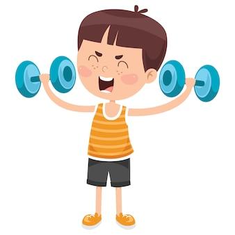 Little boy che fa esercizio di sollevamento pesi