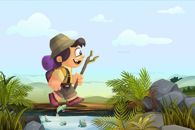 Little boy in viaggio avventuroso. illustrazione del libro per bambini