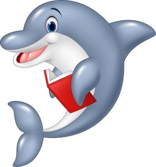 Little dolphin che tiene un libro