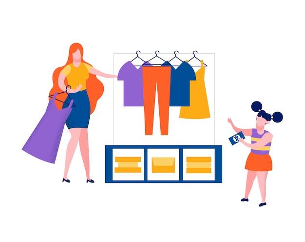 Little girl in shop scegli abito, shopping, negozio
