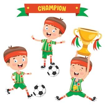 Little kid celebra la vittoria del campionato