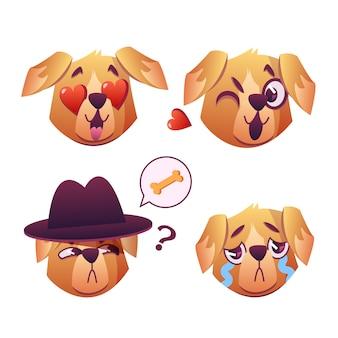 Little pet pug dog puppy con colletto collezione di espressioni facciali emoji