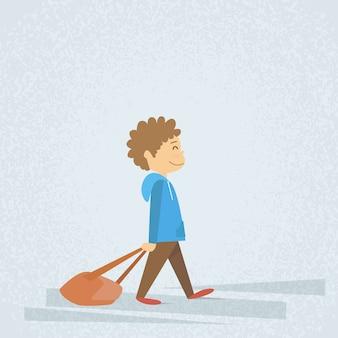 Little school boy walk hold bag, zaino trascinante