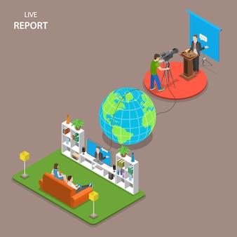 Live report concetto di vettore piatto isometrico.