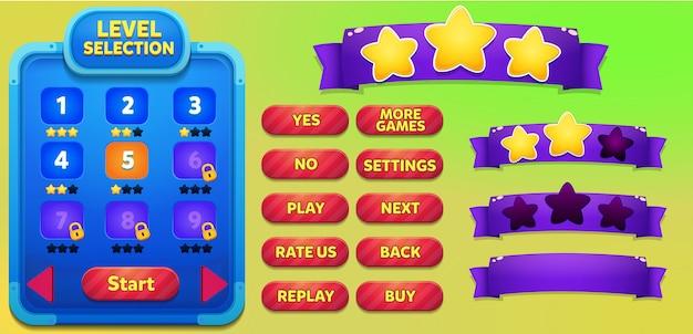Livelli di selezione del menu di gioco con pulsanti di gioco, barra di caricamento e vittoria perdono stelle