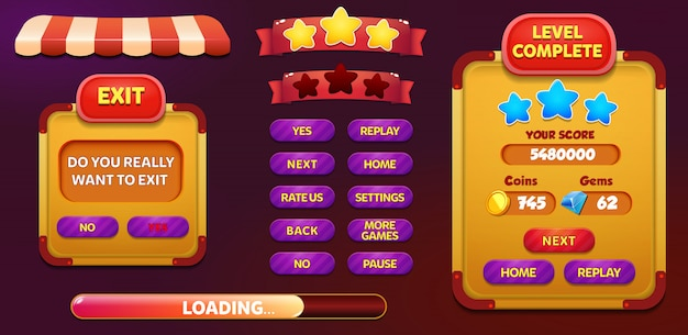 Livello completato e schermata di pop-up del menu exit con stelle e pulsante