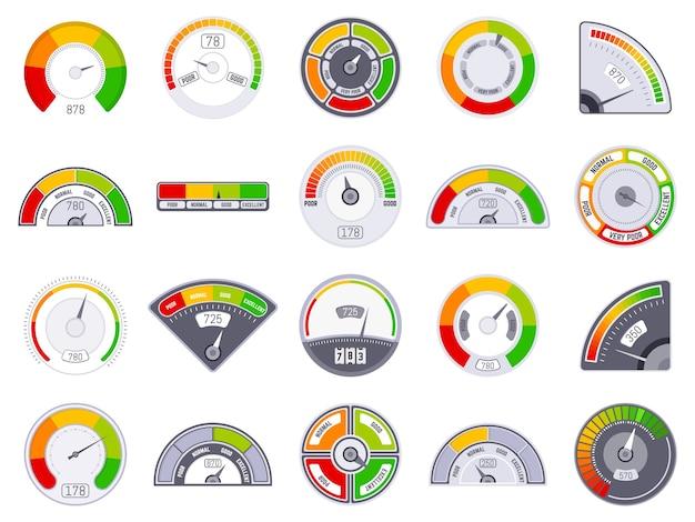 Livello di punteggio del tachimetro. indicazione di valutazione buona e bassa, livello del tachimetro delle merci, set di icone degli indicatori del tachimetro del punteggio di soddisfazione. misura del livello di punteggio, illustrazione dell'indicatore di valutazione del cliente