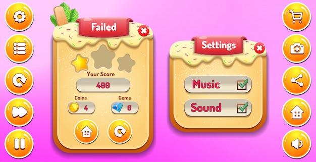 Livello fallito e menu delle opzioni di impostazione pop-up con punteggio stelle e interfaccia grafica dei pulsanti