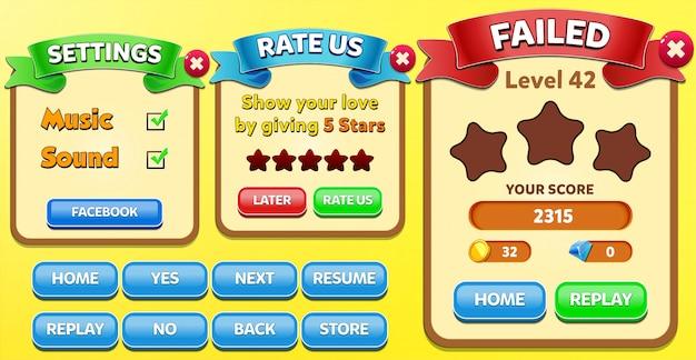 Livello fallito, valutazione e menu delle impostazioni pop-up con punteggio stelle e interfaccia grafica dei pulsanti