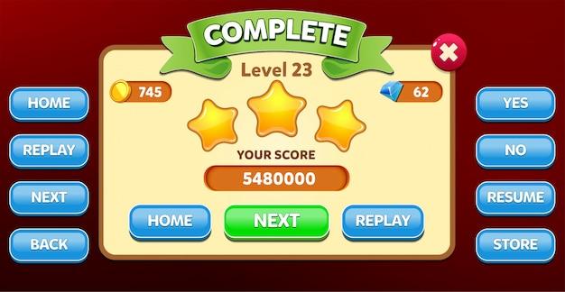 Livello menu completo pop-up con punteggio stelle e interfaccia grafica dei pulsanti