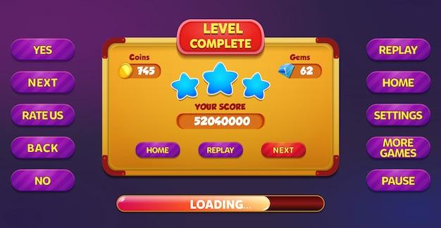 Livello menu completo pop-up schermo con stelle, pulsanti, monete e gemme