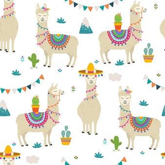 Llama seamless pattern