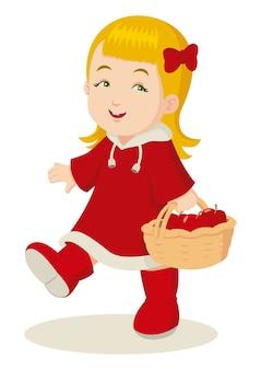 Llittle ragazza in giacca rossa che trasportano un cesto di mele