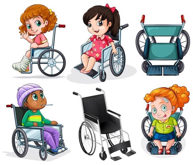 Lllustration dei pazienti disabili su sedia a rotelle su uno sfondo bianco