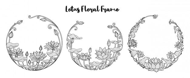 Llotus flower round floral frame set