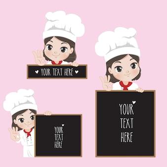 Lo chef donna in un abito nero detiene un'etichetta spaziale per il tuo messaggio,