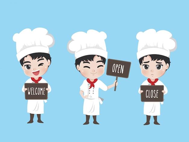 Lo chef tiene un cartello nella parte anteriore del negozio,