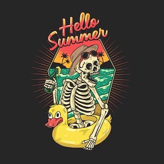 Lo scheletro si sta godendo una vacanza su una spiaggia tropicale