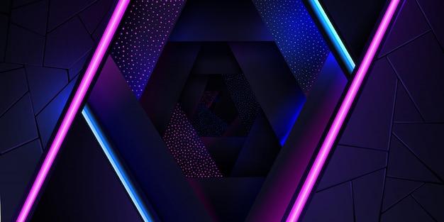 Lo sfondo al neon astratto con una linea di luce blu e rosa e una trama di punti.