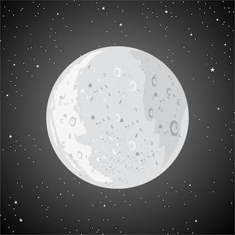 Lo sfondo della luna è pieno di stelle
