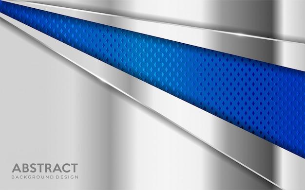 Lo sfondo di metallo argento lucido si combina con lo strato di sovrapposizione strutturato blu.
