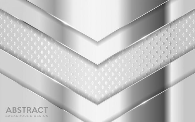 Lo sfondo metallico argento lucido si combina con uno strato bianco sovrapposto strutturato.
