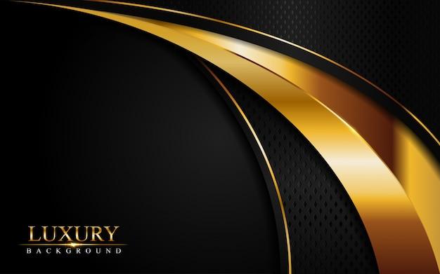 Lo sfondo nero di lusso si combina con linee dorate incandescenti. strato di sovrapposizione con texture di sfondo