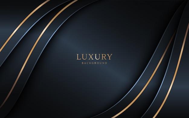 Lo sfondo scuro di lusso si combina con elementi di linee dorate.