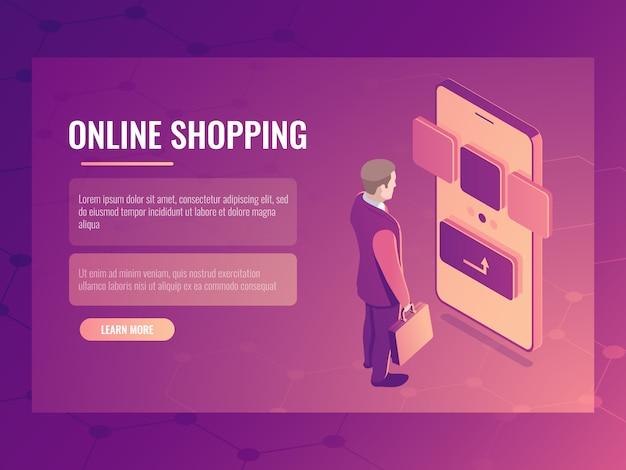 Lo shopping online concetto isometrico, l'uomo fa un acquisto, smartphone cellulare