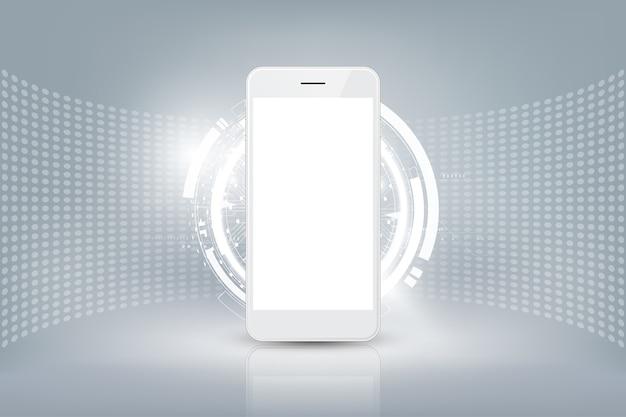 Lo smartphone bianco realistico deride su con il concetto di tecnologia futuristica