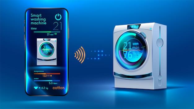 Lo smartphone controlla tramite una connessione wireless via internet con una lavatrice intelligente