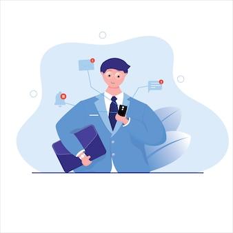 Lo smartphone del controllo dell'uomo d'affari e ottiene il concetto di notifica