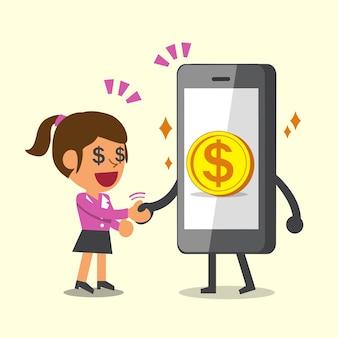 Lo smartphone del fumetto stringe la mano con la donna di affari